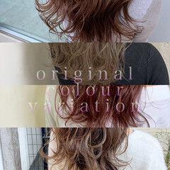 インナーカラー ミディアムレイヤー ガーリー スライシングハイライト ヘアスタイルや髪型の写真・画像
