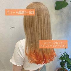 プラチナブロンド オレンジ ロング 派手髪 ヘアスタイルや髪型の写真・画像