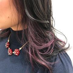 アクセサリーカラー インナーカラーパープル ガーリー ゆるふわ ヘアスタイルや髪型の写真・画像