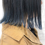 インナーカラー 黒髪 ブルーグラデーション アディクシーカラー