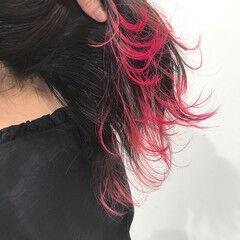 韓国ヘア ロング ピンク 裾カラー ヘアスタイルや髪型の写真・画像