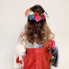 パーティー エレガント ハーフアップ 袴 ヘアスタイルや髪型の写真・画像