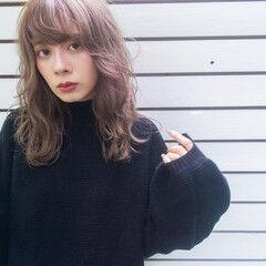 ミルクティーベージュ ブラウンベージュ フェミニン ミディアム ヘアスタイルや髪型の写真・画像