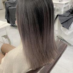 ブリーチ必須 外国人風カラー ホワイトグレージュ セミロング ヘアスタイルや髪型の写真・画像