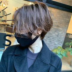 無造作パーマ ショートヘア ハンサムショート ワンカールパーマ ヘアスタイルや髪型の写真・画像