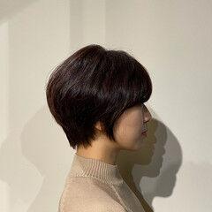 ショート 艶髪 フェミニン 絶壁カバー ヘアスタイルや髪型の写真・画像