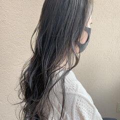 コントラストハイライト ロング アンニュイほつれヘア ナチュラル ヘアスタイルや髪型の写真・画像