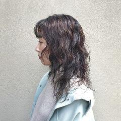ストリート ミディアム くびれボブ ニュアンスウルフ ヘアスタイルや髪型の写真・画像
