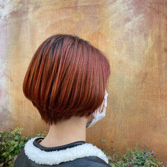 ショート ショートボブ オレンジブラウン ショートヘア ヘアスタイルや髪型の写真・画像
