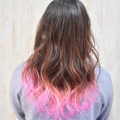 ユニコーンカラー ロング ピンク フェミニン ヘアスタイルや髪型の写真・画像