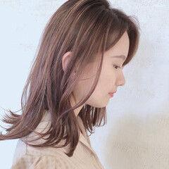 モテ髪 ミディアム 大人カジュアル ミルクティーブラウン ヘアスタイルや髪型の写真・画像