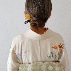 ボブ シニヨン 留袖 着物 ヘアスタイルや髪型の写真・画像
