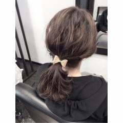 ウェーブ ローポニーテール ルーズ ヘアアレンジ ヘアスタイルや髪型の写真・画像