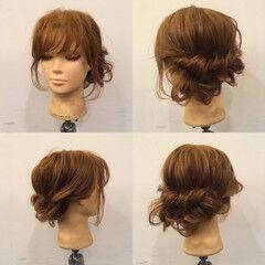 結婚式 ねじり セミロング フェミニン ヘアスタイルや髪型の写真・画像