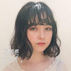 フェミニン ボブ 前髪パーマ パーマ ヘアスタイルや髪型の写真・画像
