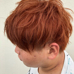 ショート オレンジ オレンジベージュ オレンジカラー ヘアスタイルや髪型の写真・画像