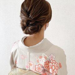 和装ヘア 訪問着 結婚式 エレガント ヘアスタイルや髪型の写真・画像