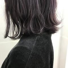ガーリー ブルーラベンダー 外ハネ 外ハネボブ ヘアスタイルや髪型の写真・画像