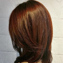 セミロング ナチュラル アプリコット かわいい ヘアスタイルや髪型の写真・画像