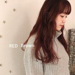 ナチュラル ミディアム 赤茶 ロングヘア ヘアスタイルや髪型の写真・画像