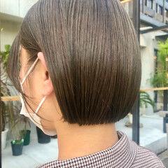 ナチュラル ヘアカラー 透明感カラー ショートボブ ヘアスタイルや髪型の写真・画像