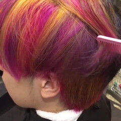 ピンク 紫 ストリート レインボー ヘアスタイルや髪型の写真・画像