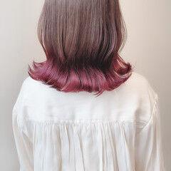 ナチュラル ラベンダーピンク インナーカラー グラデーションカラー ヘアスタイルや髪型の写真・画像