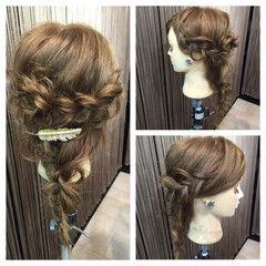 四つ編み ヘアアクセ 簡単ヘアアレンジ ヘアアレンジ ヘアスタイルや髪型の写真・画像
