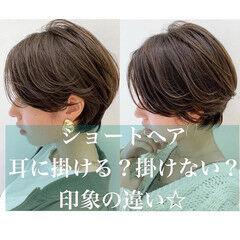 ベージュカラー ショート ショートボブ ナチュラル ヘアスタイルや髪型の写真・画像