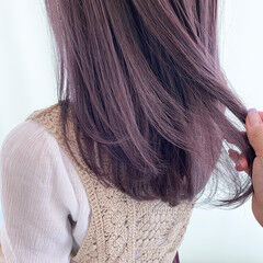 透明感 ラベンダーグレー ラベンダーアッシュ 透明感カラー ヘアスタイルや髪型の写真・画像