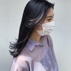 韓国風ヘアー ナチュラル ブルーブラック ネイビー ヘアスタイルや髪型の写真・画像