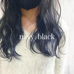 ダークトーン セミロング モード ネイビーカラー ヘアスタイルや髪型の写真・画像