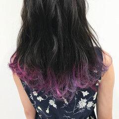 カラーバター ブリーチ フリンジバング ナチュラル ヘアスタイルや髪型の写真・画像