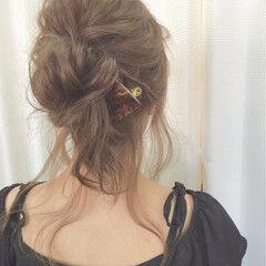 ショート お団子 簡単ヘアアレンジ セミロング ヘアスタイルや髪型の写真・画像