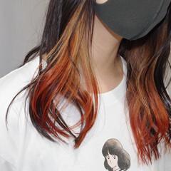暗髪女子 インナーカラー 暗髪 モード ヘアスタイルや髪型の写真・画像