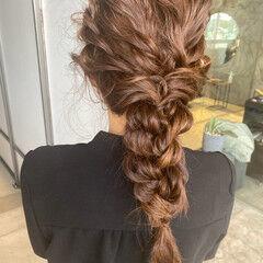 アップスタイル 韓国ヘア ロープ編みアレンジヘア フェミニン ヘアスタイルや髪型の写真・画像