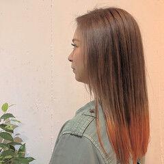 ワンレン グラデーション ストリート グラデーションカラー ヘアスタイルや髪型の写真・画像
