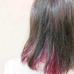 フェミニン インナーカラー ブリーチ ブリーチオンカラー ヘアスタイルや髪型の写真・画像