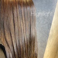極細ハイライト セミロング ナチュラル ハイライト ヘアスタイルや髪型の写真・画像