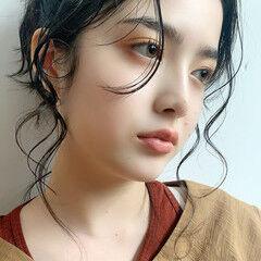 簡単ヘアアレンジ 後れ毛 アンニュイほつれヘア セミロング ヘアスタイルや髪型の写真・画像