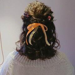 ガーリー ボブ ハーフアップ リボンアレンジ ヘアスタイルや髪型の写真・画像