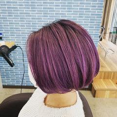 ハイトーンカラー ミニボブ パープル ストリート ヘアスタイルや髪型の写真・画像