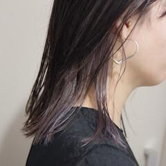 ミディアム ナチュラル ワイドバング 暗髪 ヘアスタイルや髪型の写真・画像
