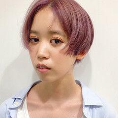 ストリート ピンクヘア イルミナカラー ショート ヘアスタイルや髪型の写真・画像