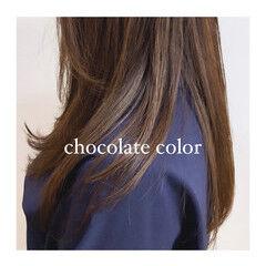 レイヤー ナチュラル チョコレート ロング ヘアスタイルや髪型の写真・画像