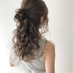 ハーフアップ ナチュラル ミルクティカラー 大人可愛い ヘアスタイルや髪型の写真・画像