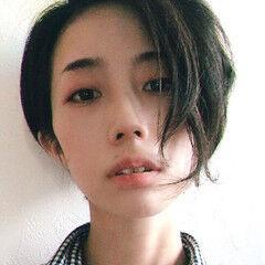 ショート ボーイッシュ クール 黒髪 ヘアスタイルや髪型の写真・画像
