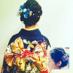 フェミニン セミロング 成人式 着物 ヘアスタイルや髪型の写真・画像
