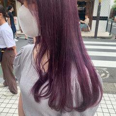 韓国ヘア ピンクバイオレット ロング ラベンダー ヘアスタイルや髪型の写真・画像