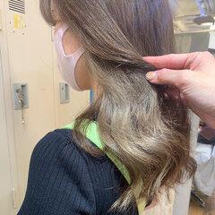 インナーカラー モテ髪 セミロング イルミナカラー ヘアスタイルや髪型の写真・画像